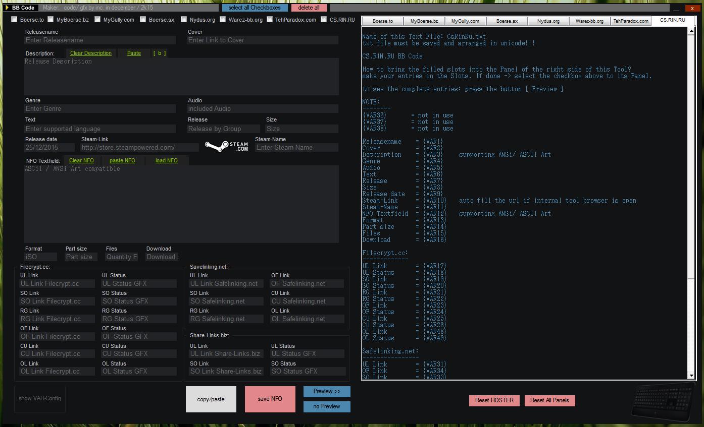 NFO Maker ASCii / ANSi BBcode Release Tool - Artscene